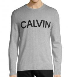 Calvin Klein Grey Graphic Cotton-Blend Sweatshirt