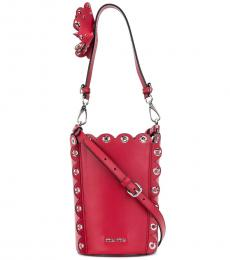 Miu Miu Red Rivets Medium Bucket Bag