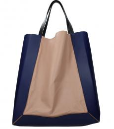 Blue/Natural Pink Solid Colorblock Large Tote