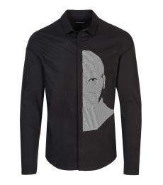 Emporio Armani Black Face Graphic Print Shirt