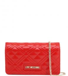 Love Moschino Red Quilted Chain Small Crossbody