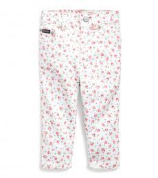 Ralph Lauren Baby Girls White Floral Stretch Jeans