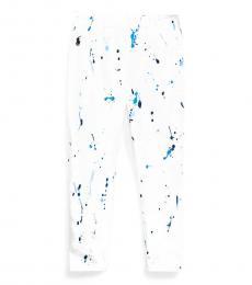 Little Girls White Paint-Splatter Jersey Leggings
