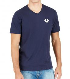 Navy Blue Horseshoe Logo V-Neck Tee