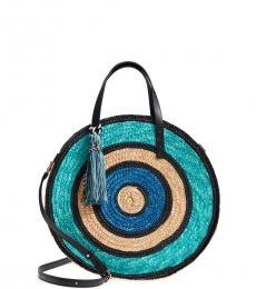 Blue Woven Straw Circle Large Satchel