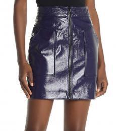 Navy Blue Marguerite Front Zip Mini Skirt