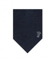 Versace Blue Herringbone Tie