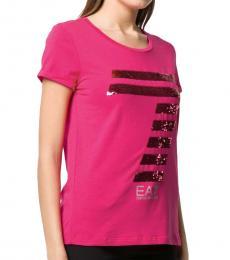 Emporio Armani Pink Rhinestone Logo T-Shirt