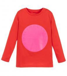 Stella McCartney Girls Red & Neon Pink Logo T-Shirt