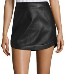 BCBGMaxazria Black Curved Hem Leather Mini Skirt