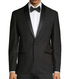 Ben Sherman Black Tonal-Lapel Dinner Jacket