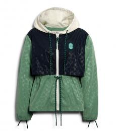 Coach Washed Green Multi Signature Sporty Jacket