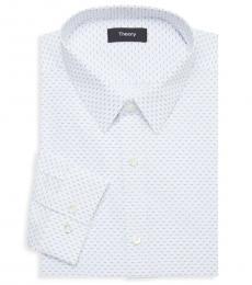 White Chevron-Print Dress Shirt