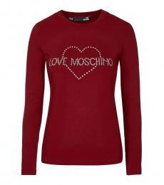 Love Moschino Maroon Rhinestones Logo Tee