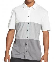 White Colorblock Short Sleeves Shirt