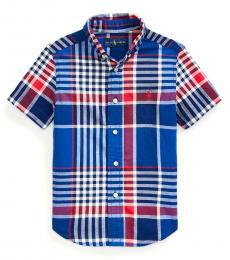 Ralph Lauren Little Boys Blue Red Multi Madras Shirt