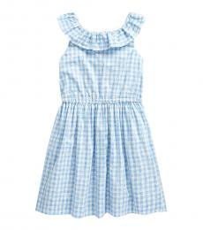Ralph Lauren Little Girls Blue Gingham Poplin Dress