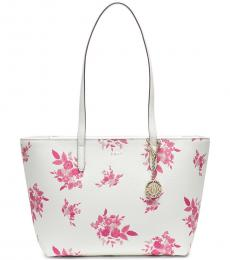 DKNY White Bryant Floral Large  Tote
