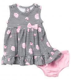 Calvin Klein Baby Girls Black Floral Stripe Dress
