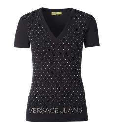 Versace Jeans Black V-Neck Logo Tee