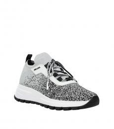 Prada Silver Side Logo Sock Sneakers