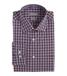 Purple Regular Fit Plaid Dress Shirt