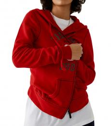 True Religion Ruby Red Logo Hoodie