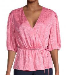 Pink Puff-Sleeve Wrap Peplum Top