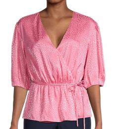 Rebecca Minkoff Pink Puff-Sleeve Wrap Peplum Top