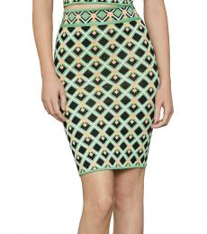 BCBGMaxazria Green Printed Sweater Pencil Skirt