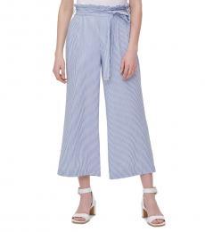 Calvin Klein Blue Belted Wide-Leg Pants