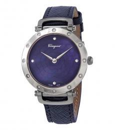 Salvatore Ferragamo Blue Crystal Watch