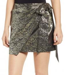 Multi Color Shimmer Jacquard Faux Wrap Skirt