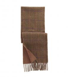 Ralph Lauren Light Brown Reversible Plaid Scarf