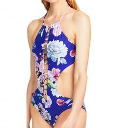 Rachel Roy Blue Flora One-Piece High Neck Monokini