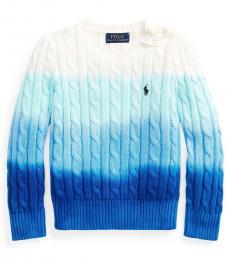 Ralph Lauren Little Girls Ocean Blue Dip-Dyed Sweater