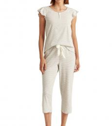 Ralph Lauren Light Grey Striped Capri Sleep Set
