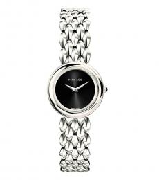 Silver V-Flare Black Dial Watch