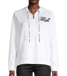 Karl Lagerfeld White Hood Full-Zip Jacket