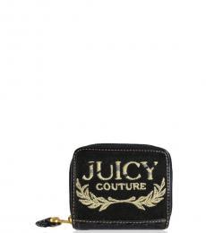 Juicy Couture Black Terry Bifold Zip Around Wallet