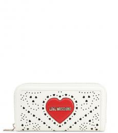 Love Moschino White Perforated Zip Wallet