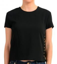 Black Detailed Short Sleeve Top