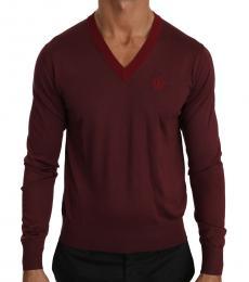 Cherry Silk V-Neck Crown Sweater