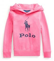 Ralph Lauren Little Girls Baja Pink Big Pony Terry Hoodie