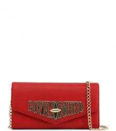 Love Moschino Red Turnlock Clutch