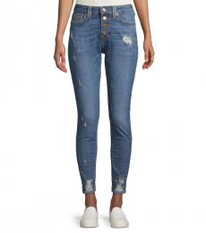 Navy Jennie Distressed High-Rise Jeans