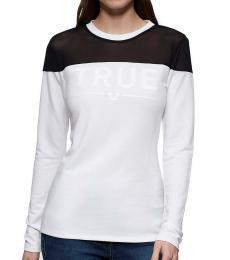 True Religion White Mesh Panel T-Shirt