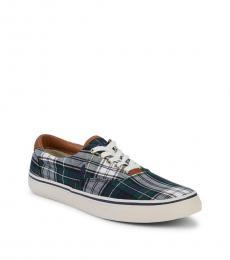 Ralph Lauren Navy Green Plaid Sneakers
