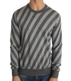 Gray Striped Silk Crew-Neck Sweater