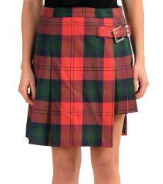 Versus Versace Multicolor Checkered Pleated Skirt